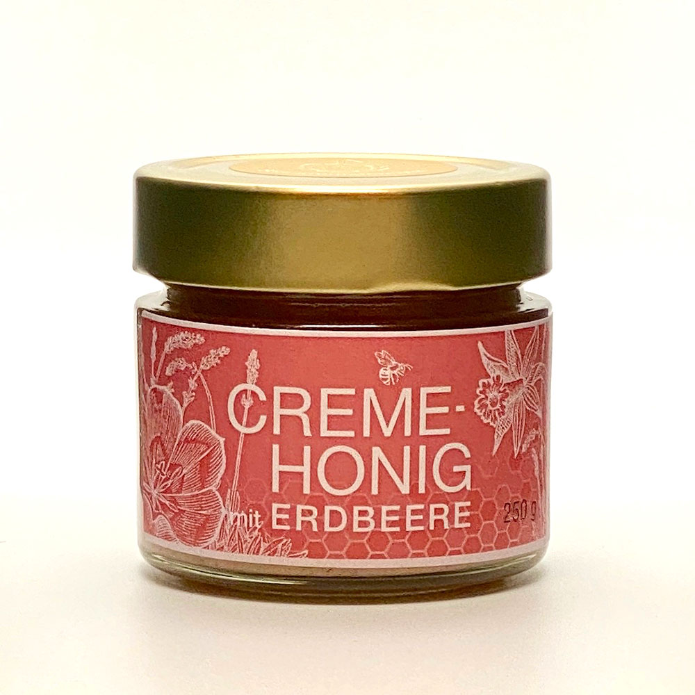 Creme Honig mit Erdbeere 250g